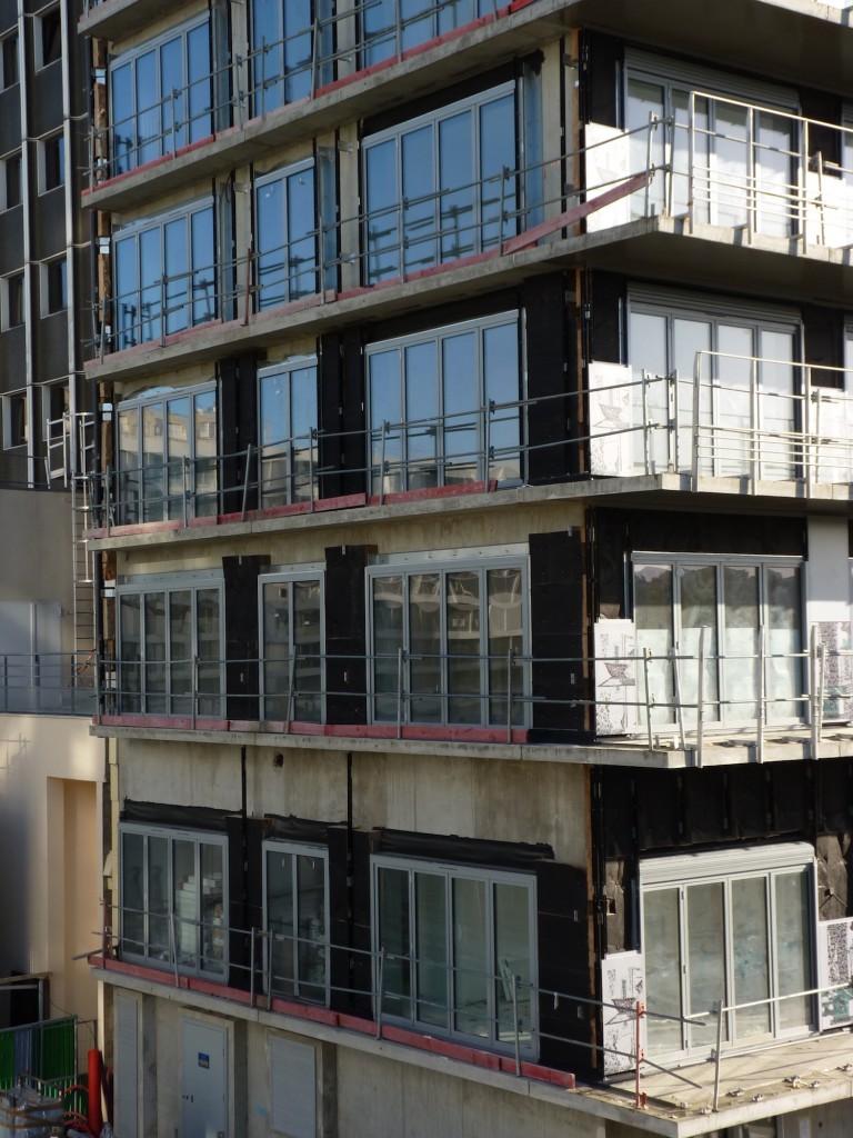 Pose de l'isolant, façade Ouest